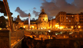 Beautiful panorama of the night Rome Royalty Free Stock Photography
