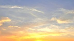 Free Beautiful Panorama Of Orange And Yellow Cloudscapes At Sunrise/sunset  On A Blue Sky In High Resolution Royalty Free Stock Photos - 144787638