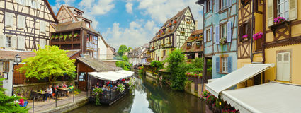 Beautiful panorama of old town Colmar, France. Beautiful old town Colmar, France. Panoramic view royalty free stock photography