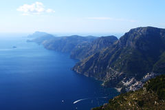 Beautiful panorama over Amalfi Coast. Another beautiful panorama over the famous Amalfi Coast from Italy. The steep mountains are melting into the dark blue Stock Images