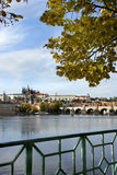 Beautiful panorama of  Prague Castle and Charles bridge Royalty Free Stock Photography