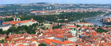 Beautiful Panorama of Prague City Stock Photography