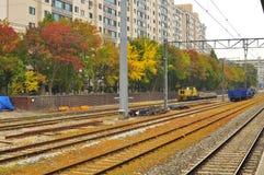 Railroad during autumn in Seoul Korea. A beautiful panorama of railroad with colorful autumn trees in Seoul Korea Royalty Free Stock Photography