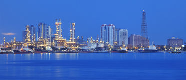 Beautiful panorama scene of refinery industry plant with comuni royalty free stock images