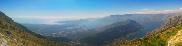 Beautiful panorama. Sea, bay and mountains landscape. Montenegro. Beautiful panorama. Sea, bay and mountains landscape. Montenegro, Kotor, Adriatic. Bright royalty free stock images