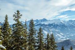 Beautiful panorama of the snow covered mountain range stock photos