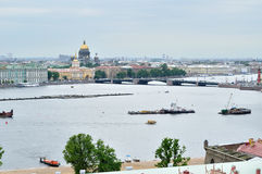 Beautiful panorama of St. Petersburg and water area of Neva river - view from height Royalty Free Stock Photography
