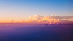 Beautiful panorama of sunset over mountains. Bright Blue, Orange Royalty Free Stock Photography