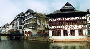 Beautiful panorama timber framing houses, Fachwerk architecture on picturesque canals of Strasbourg. Traditional timber framing houses, Fachwerk architecture on stock image