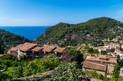 Beautiful panorama of the town Estellencs on Mallorca, Spain. Beautiful panorama of the town Estellencs in the mountains of Tramuntana on Mallorca, Spain stock images