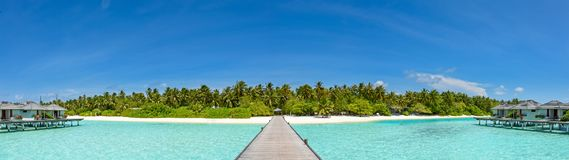 Beautiful panorama of the tropical island resort at Maldives. Beautiful amazing panorama of the tropical island resort at Maldives stock photo