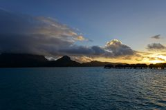 Beautiful panorama of tropical sunset Royalty Free Stock Image