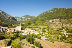 Beautiful panorama of Valldemossa, famous old mediterranean village of Majorca Spain. Royalty Free Stock Photos
