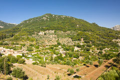 Beautiful panorama of Valldemossa, famous old mediterranean village of Majorca Spain. Stock Photos