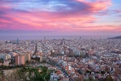 Beautiful panorama view of Barcelona city skyline and Sagrada familia at sunset time. Spain stock photos