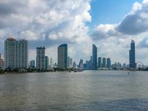 Panorama view of the business district with rive foreground stock photos