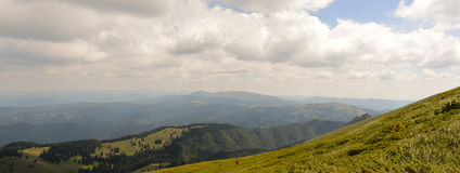 Beautiful panorama view of Carpathian Mountains, Romania. Green amazing Carpathians, nature in the mountains Stock Photography