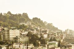 Beautiful panorama view of Gangtok city, largest town of Indian state of Sikkim, located in the eastern Himalayan range in stock photo