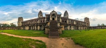 Panorama view inside an Angkor Wat in a beautiful clear sky day at Siem Reap, Cambodia. Beautiful panorama view inside an Angkor Wat in a beautiful clear sky royalty free stock images