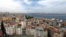 Beautiful panorama view of Istanbul, many houses and streets, beautiful sky and sea with ships, beautiful timelapse. Beautiful panorama view of Istanbul, many stock footage