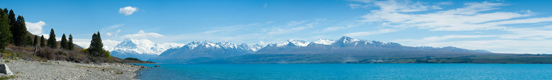 Beautiful panorama view with lake, South Island, New Zealand Stock Photos