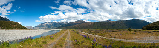 Beautiful panorama view and landscape in South Island, New Zealand stock photo
