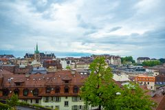 Beautiful panorama view of Lausanne city with cloudy sky for background. With copy space, Switzerland stock photo