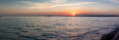 Beautiful panorama view of the spectacular sunset in the Bosphorus. Istanbul, Turkey stock photos