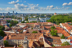 Beautiful panorama of Vilnius Old Town, Lithuania. Beautiful panorama of Vilnius Old Town with Gediminas hill and Bell tower of Vilnius cathedral taken from royalty free stock photo