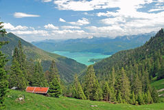 Beautiful panorama of Walchensee in the bavarian alps. Durin a hike up to Herzogenstand Royalty Free Stock Photography