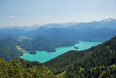 Beautiful panorama of Walchensee in the bavarian alps. In full length Royalty Free Stock Photo
