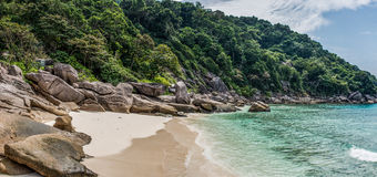 Beautiful Panorama Wild Tropical Beach. Turuoise Sea at Similan Island. Thailand. Asia adventure. Stock Photos