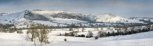 Beautiful panorama Winter landscape of snow covered countryside Stock Photo