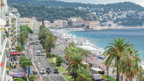 Beautiful panoramic aerial view city of Nice timelapse, France. Mediterranean sea, bay of Angels. Beautiful panoramic aerial view city of Nice timelapse, France stock video
