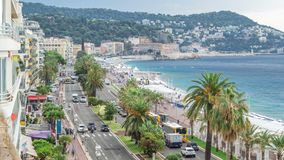 Beautiful panoramic aerial view city of Nice timelapse, France. Mediterranean sea, bay of Angels. Beautiful panoramic aerial view city of Nice timelapse, France stock video footage