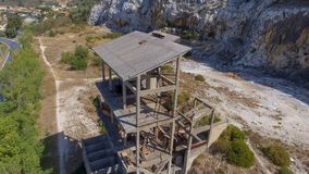 Beautiful panoramic aerial view of Marble Quarry in Italy - Abandoned old industry equipment.  stock photography
