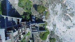 Beautiful panoramic aerial view of Marble Quarry in Italy - Abandoned old industry equipment.  royalty free stock image
