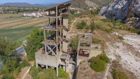 Beautiful panoramic aerial view of Marble Quarry in Italy - Abandoned old industry equipment.  stock images