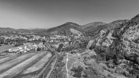 Beautiful panoramic aerial view of Marble Quarry in Italy - Abandoned old industry equipment.  royalty free stock photo