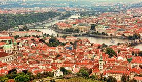Beautiful panoramic aerial view of the Prague city from above wi Royalty Free Stock Photos