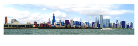 Beautiful Panoramic Chicago Skyline Stock Images
