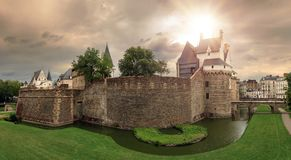 Nantes castle ominous sky panorama Royalty Free Stock Photo