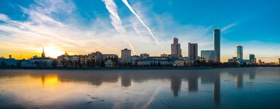 Beautiful panoramic colorful cityscape of Yekaterinburg city center at winter sunset royalty free stock images