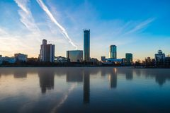 Beautiful panoramic colorful cityscape of Yekaterinburg city center at winter sunset stock photography
