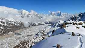 Beautiful panoramic evening view of the Gokyo valley Stock Images