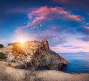 Beautiful panoramic landscape with mountains, sea at sunset stock photo