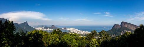 Beautiful PANORAMIC landscape with rainforest, city district Leblon, Ipanema, Botafogo, Lagoon Rodrigo de Freitas and mountains royalty free stock photos