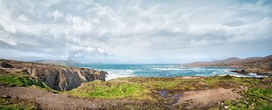 Beautiful panoramic landscape with rocks and ocean shore Royalty Free Stock Photography