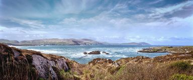 Beautiful panoramic landscape with rocks and ocean shore Royalty Free Stock Photo
