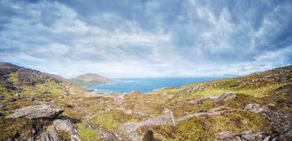Beautiful panoramic landscape with rocks and ocean shore Stock Image